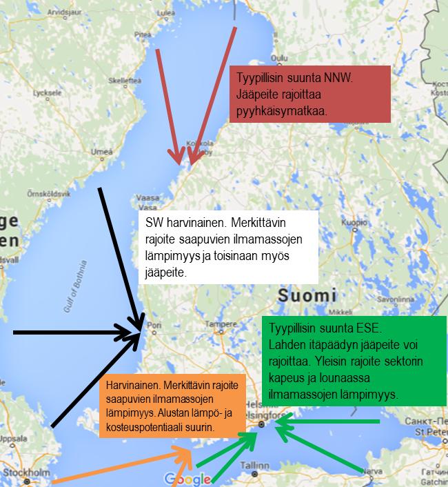 Lumitykkien mahdollisia saapumissuunta Helsingin, Hangon, Porin ja Kokkolan alueella sekä kunkin alueen merkittävimmät lumikuurojen muodostumista rajoittavat tekijät.