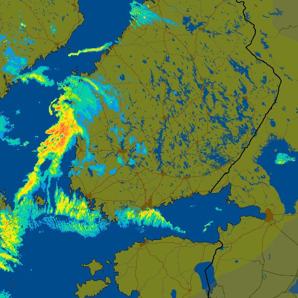 Säätutkakuva 8.1.2016 klo. 11 Suomen aikaa (09 UTC). Kuvassa ovat tutkan havaitsemat sateet.