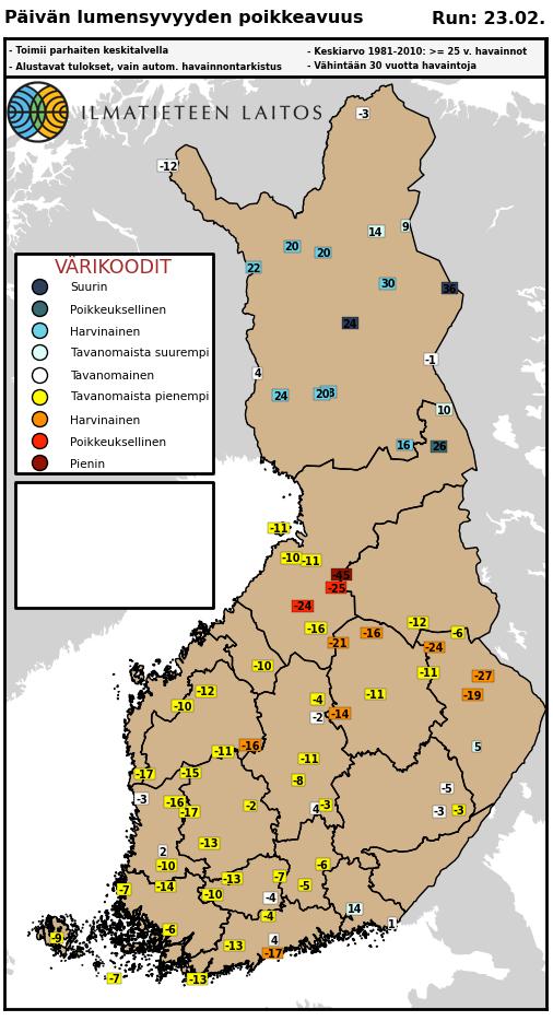 Kuva 2. Lumensyvyyden poikkeuksellisuus (värit) ja poikkeama 1981-2010 keskiarvosta (arvot) helmikuun 23. päivänä.