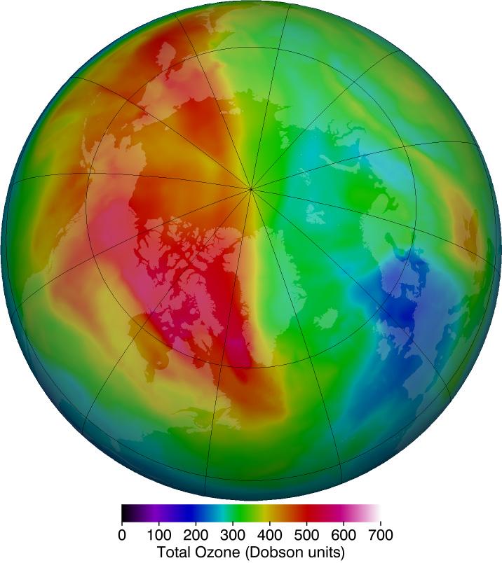Otsonipitoisuus 1.2.2016. Kuva: NASA