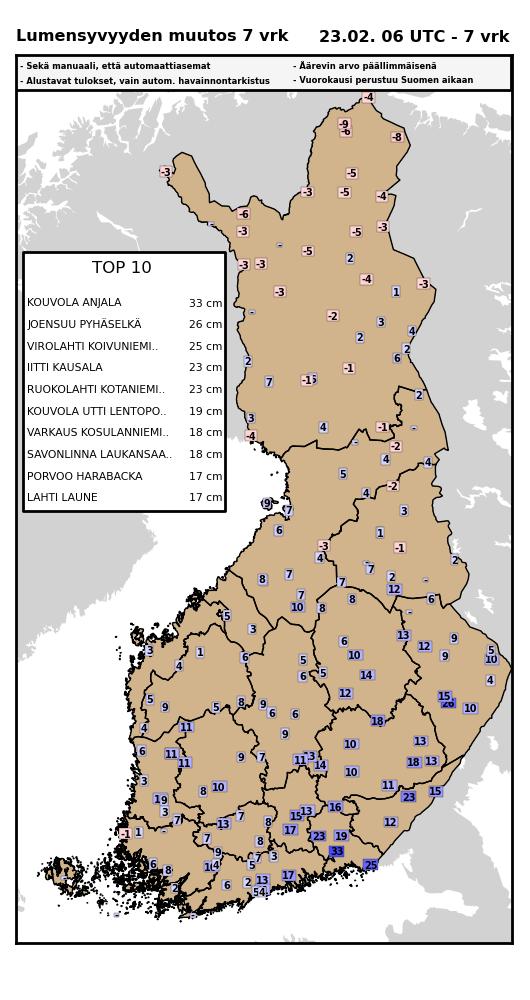 Kuva 3. Lumensyvyyden muutos 16.2.2016-23.2.2016.