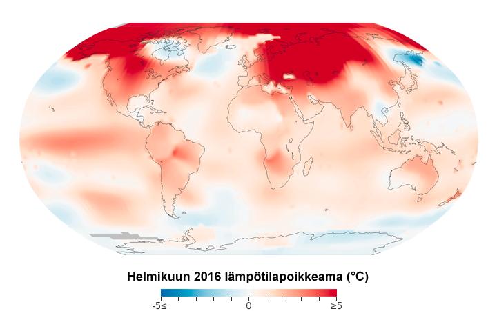 Lämpötilapoikkeama helmikuussa 2016. Kuva: NASA GISS