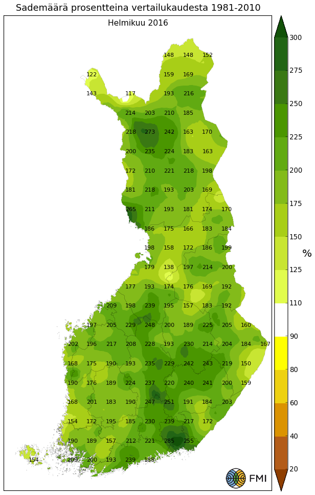 Helmikuun sademäärä prosentteina tavanomaiseen verrattuna