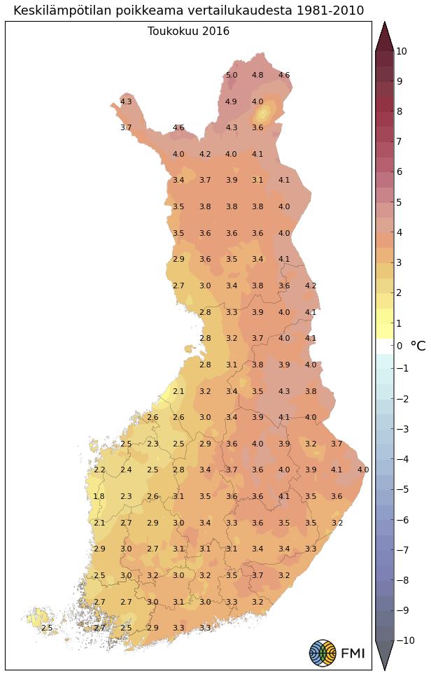 Lämpötilapoikkeama pitkän ajan keskiarvosta toukokuussa 2016.
