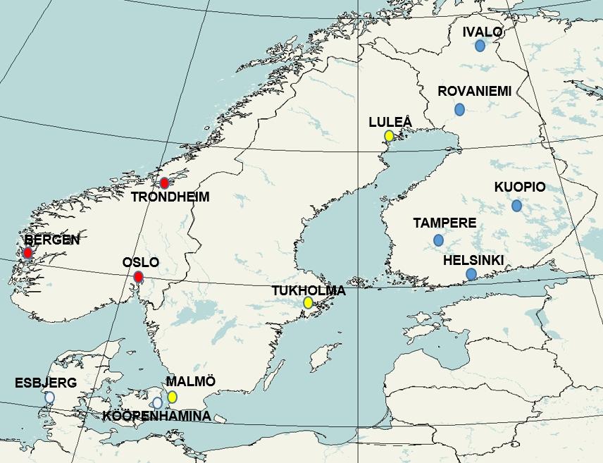 Karttakuva valituista paikkakunnista eri puolelta Pohjolaa.