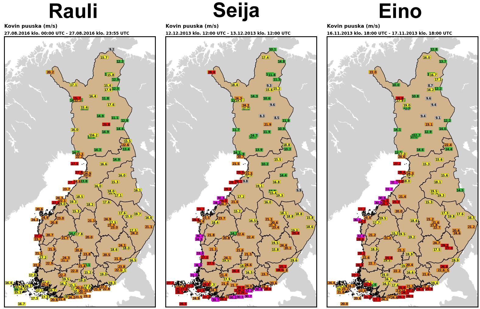 Kovimmat havaitut puuskat Rauli-, Seija- ja Eino-myrskyissä.