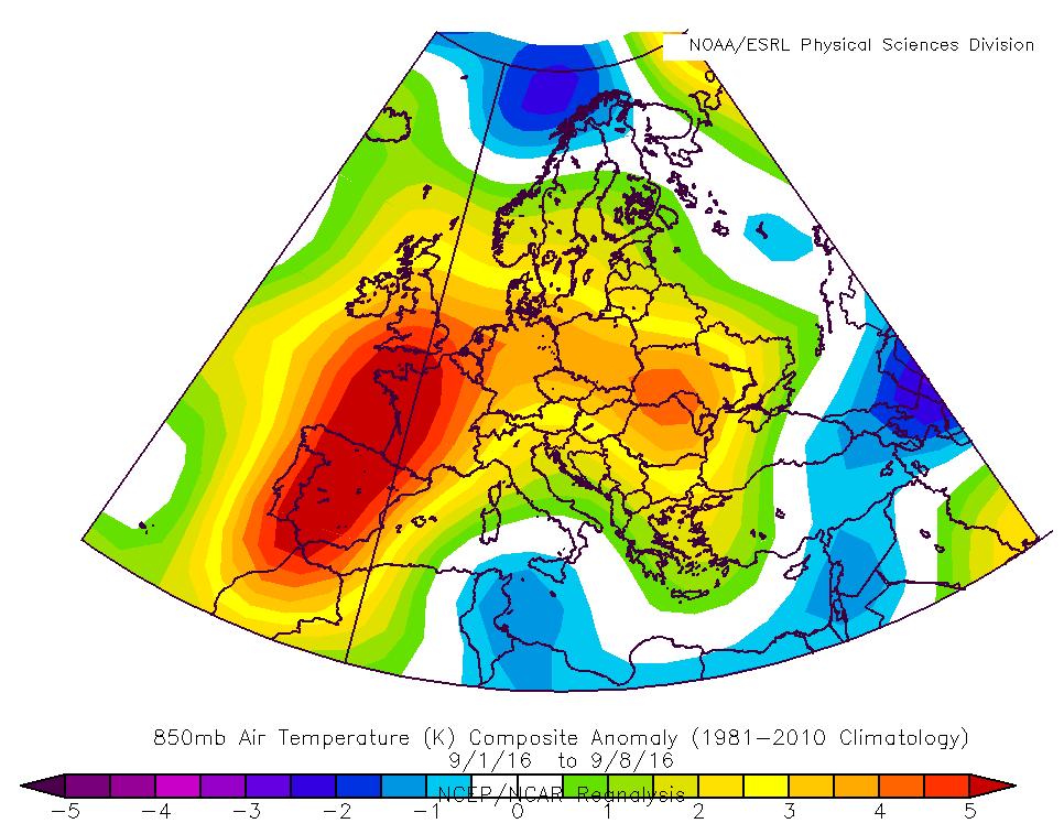 850hPa:n lämpötilan poikkeavuus tavanomaisesta ajalla 1.-8.9.2016. Anomalia perustuu jakson 1981-2010 klimatologiseen vertailujaksoon.