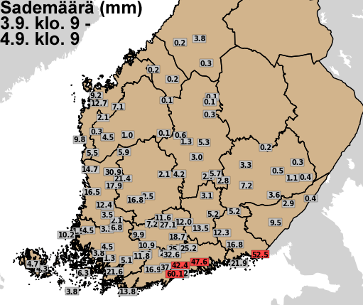 Vuorokauden sademäärät (mm) lauantaiaamusta sunnuntaiaamuun 3.-4. syyskuuta 2016.