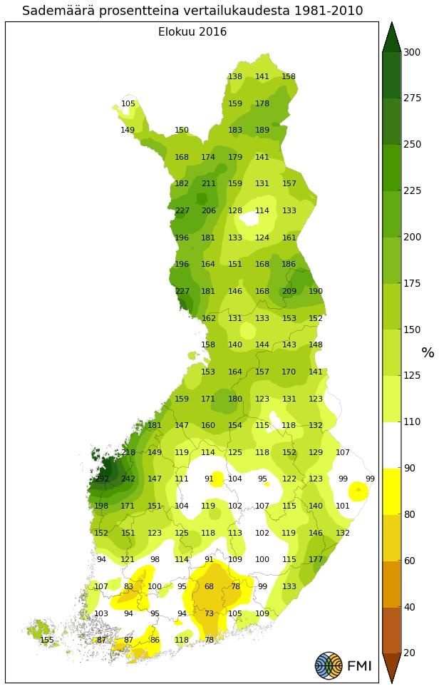 Sademääräpoikkeama pitkän ajan keskiarvosta elokuussa 2016.