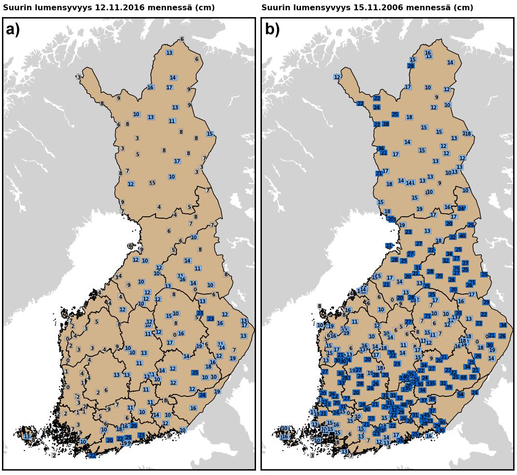Alkutalven (15. marraskuuta mennessä) suurin lumensyvyys vuosina 2016 (vasemmalla, a) ja 2006 (oikealla, b).