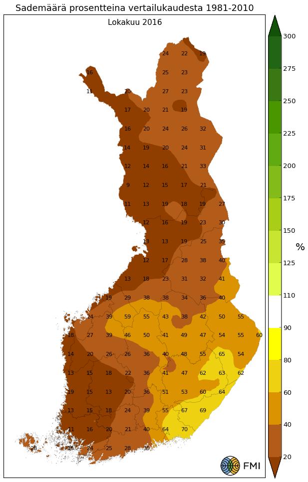 Lokakuun sademäärän poikkeama prosentteina 1981-2010 keskiarvosta.