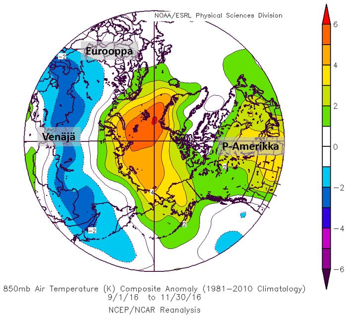 Syksyn (syys-marraskuu) ilmamassan lämpötilapoikkeama Arktisella alueella ja sen lähiympäristössä. Vihreillä ja punaisilla alueilla on ollut normaalia lämpimämpää ja sinisillä normaalia kylmempää. Lähde: NOAA