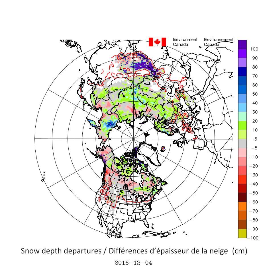 Lumipeitteen paksuus 4.12.2016 pohjoisella pallonpuoliskolla verrattuna vuosien 1998/99 – 2011/12 talvien keskiarvoon. Vihreillä ja sinisillä väreillä lunta on normaalia enemmän, punaisilla normaalia vähemmän. Lähde: CCIN