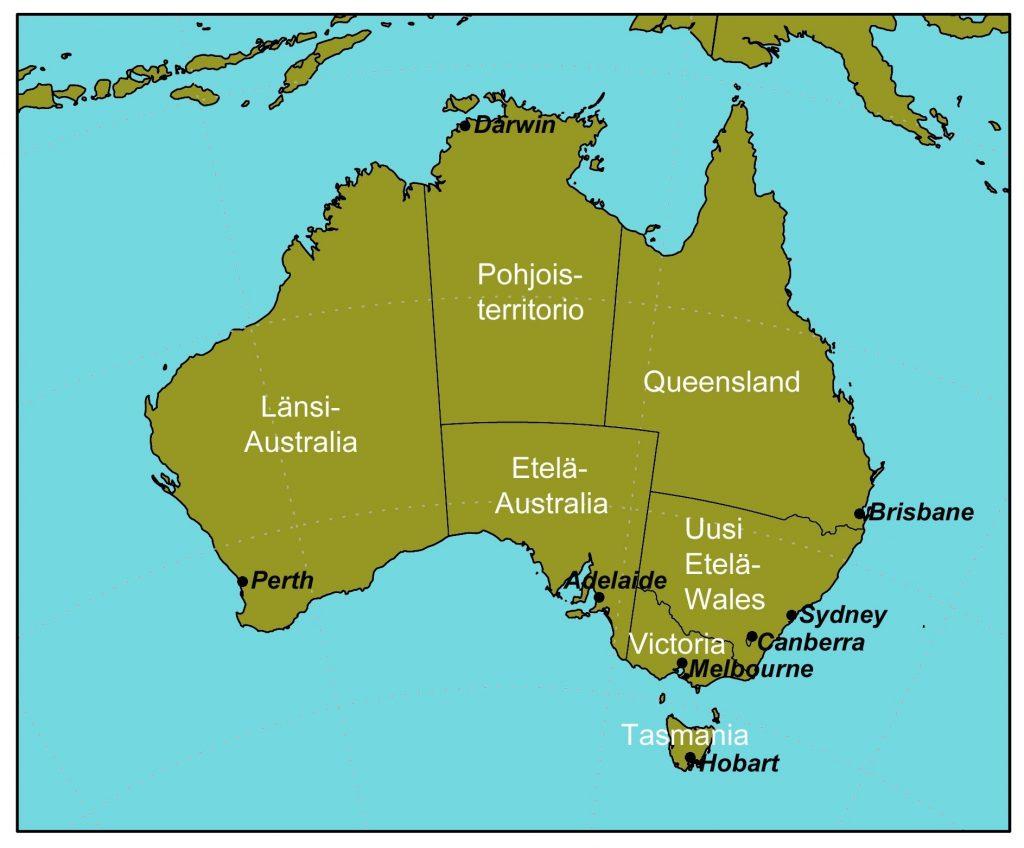 Karttakuva: Australian osavaltiot ja territoriot pääkaupunkeineen