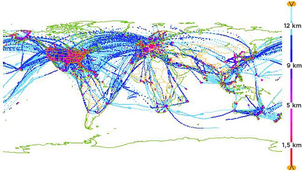 Kuvassa näkyy globaalista lentoliikenteestä saatavat havainnot normaaliaikana, eli kuva näyttää käytännössä lentoreitit, joilta havaintoja saadaan