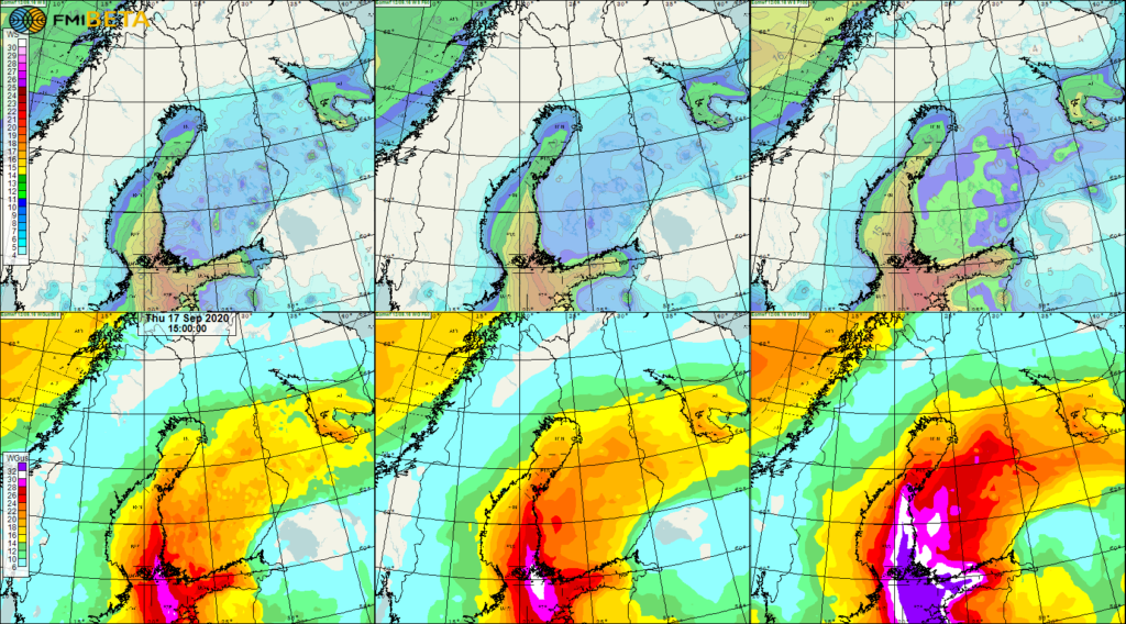 Euroopan keskipitkien sääennusteiden keskuksen ennuste Aila-myrskyn puuskista ja keskituulesta.